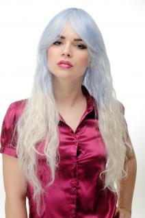 Perücke Damenperücke Cosplay Eisprinzessin hellblau hellblond ombre lockig lang