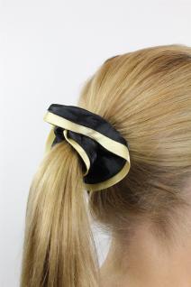 Haarband Stoff Scrunchy Magd/Zofe/Gothic elastisch Schwarz + goldenen Rand Z021