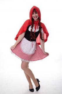 DRESS ME UP - Kostüm Damen Dirndl Haube Sexy Rotkäppchen Red Riding Hood Gr. S/M