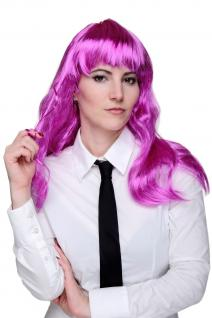 Perücke Party Disco Lila/Pink Punk lang leicht gewellt mit Pony Perrücke Wig NEU