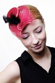 Fascinator Miniatur Hut Mini Zylinder Rot Damen Burlesque Pailletten Feder H31