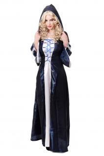 Kostüm Damenkostüm Blaues Kleid Haube Mittelalter Elfe Fee Magierin Cosplay L080