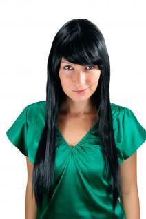Sehr Lange Damen Perücke Wig schwarz glatt langer Pony Haarersatz 70 cm LA033-1