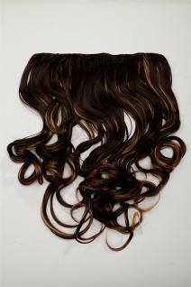 Clip-In Extension Haarverlängerung breit 5 Clip lockig kastanie blond gesträhnt