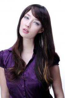 Damen Perücke braun leichte helle Strähnen glatt langes Haar 9213-2T33-27 NEU