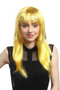 Perücke Karneval Fasching Damen lang glatt Pony gelb Glitter Strähnen XR-003