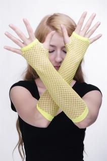 Handschuhe Netzhandschuhe Fishnet Gloves Neon Gelb Punk Wave Goth 80er Girl Z071