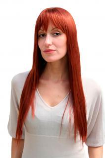 Damenperücke, Wig, rot, Kupfer, glatt, lang, Pony, ca 60cm, Haarersatz, 9293-130