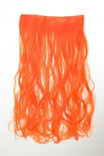 Haarteil Extension breite Haarverlängerung 5 Clips lockig Neonorange YZF-3178