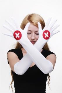 Karneval Fasching Handschuhe Damenhandschuhe Krankenschwester lang weiß Z079