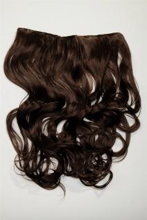 Clip-In Extension Haarverlängerung breit hitzefest 5 Clip lockig braun