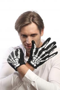 Handschuhe Halloween Schwarz Skelett Knochen Tod Rocker Rockabilly RH-004-white