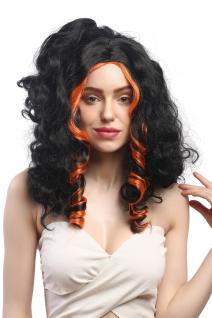 Perücke Damen Karneval Halloween Cosplay Vamp Hexe Lang Schwarz orange Strähnen