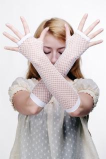 Handschuhe Netzhandschuhe Fishnet Gloves Weiß Punk Wave Goth Braut 80er Z068