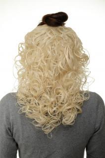 Haarteil Halbperücke Clip-In Haarverlängerung Locken Platinblond 40cm H9312-613