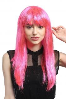 Perücke Karneval Fasching Damen lang glatt Pony rosa pink Glitter Strähnen XR003