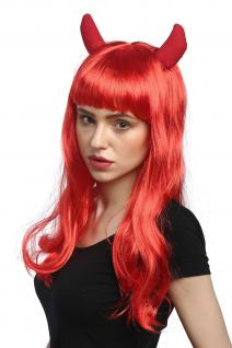 Perücke Damen Karneval Halloween Lang Rot Hörner Horns Teufelin Pony She-Devil
