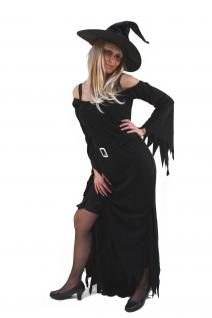 Hexenkostüm Kostüm Hexe Fee schwarz Kleid + Hut Halloween Vampirin Zauberin K40
