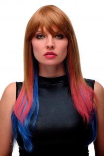 WIG ME UP Damenperücke Perücke Cosplay lang glatt Blond Rot Blau Mix GF-W2204