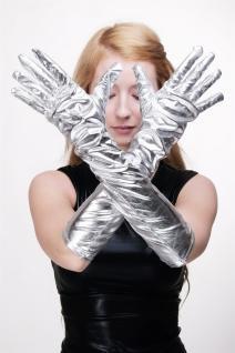 Karneval Handschuhe Damenhandschuhe lang Burlesque Silber silberfarben Z080