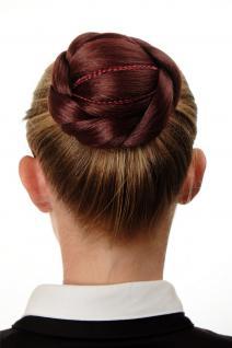 Aufwendig geflochten Haarknoten Dutt Haarteil Braun Rostbraun N672-35