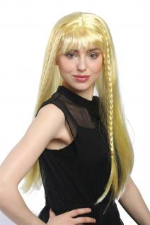 Perücke Damen Karneval lang glatt Pony Blond Goldblond geflochten Zöpfe Hippie