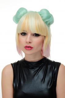 3-teilig Damen-Perücke + Dutts abnehmbar Cosplay Pink hellblond platin GFW2175