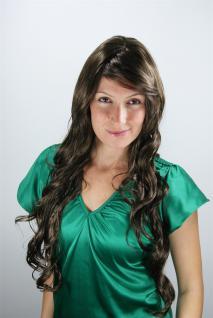 Langhaarige Perücke Wig braun Locken glänzend sehr lang Haarersatz 80 cm 9321L-8