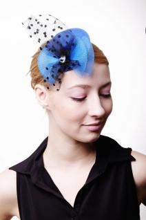 Fascinator Miniatur Hut Mini Zylinder Blau Schlaufen Tüll Damen Burlesque H41