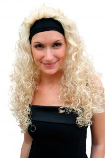 Perücke & Stirnband blond lang Locken Vamp 80er 90er Jahre Party PW0102-KB88 NEU