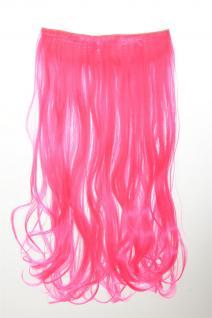 Haarteil Extension breite Haarverlängerung 5 Clips lockig Neonpink YZF-3178