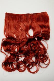 Clip-In Extension Haarverlängerung breit hitzefest 5 Clip lockig Rot Tizian-Rot