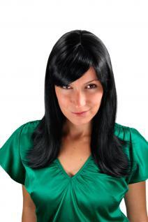 Perücke Wig schwarz lang glatt glänzendes Haar leichte Außenwelle 50 cm 3218-1B