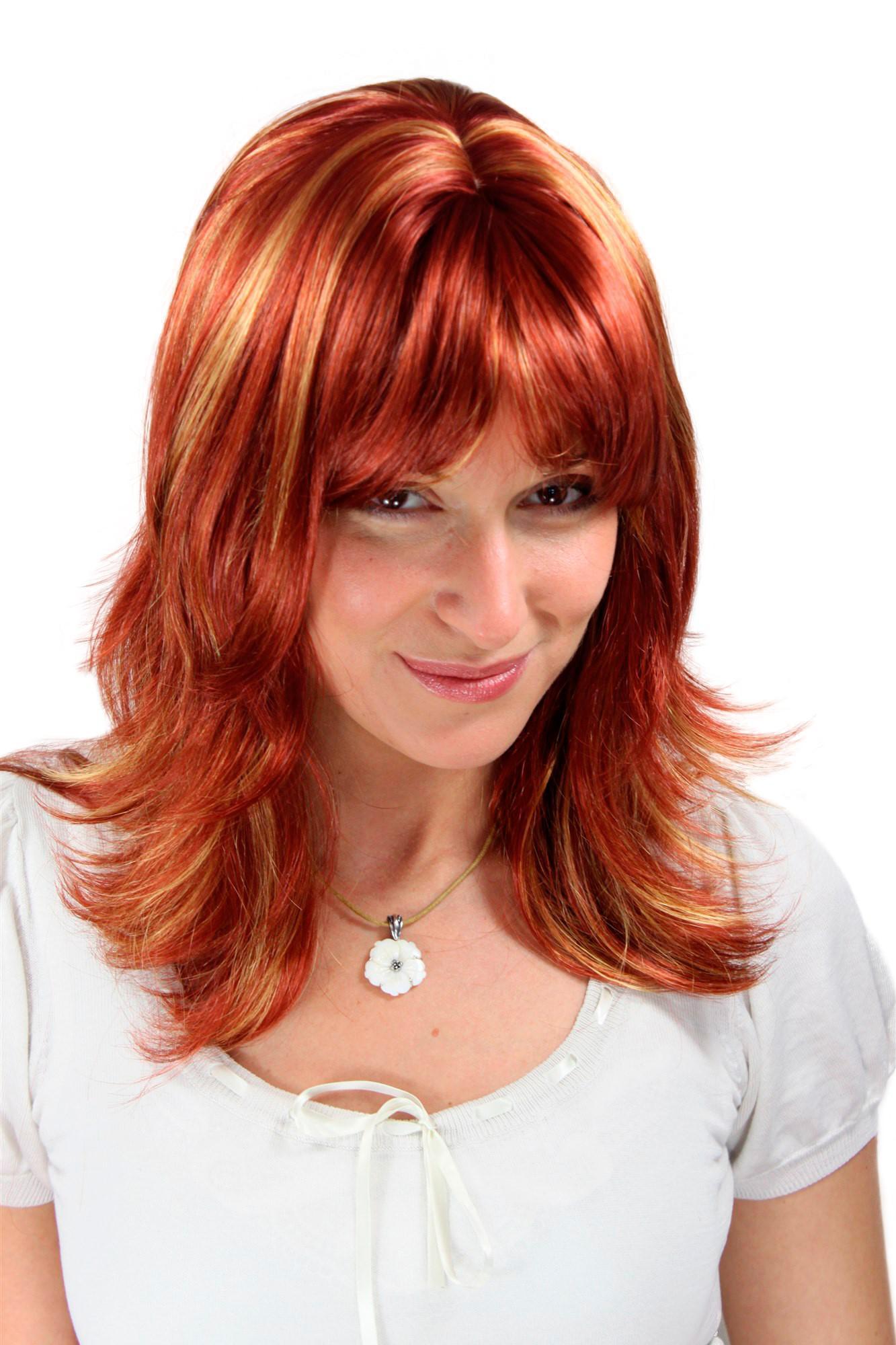 Damen Perücke Wig ATEMBERAUBEND Rot/Blond Wild GESTRÄHNT
