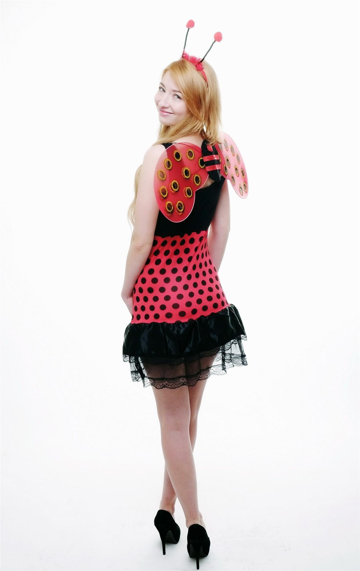 kost m damen komplett set sexy marienk fer k fer teenie ladybug. Black Bedroom Furniture Sets. Home Design Ideas