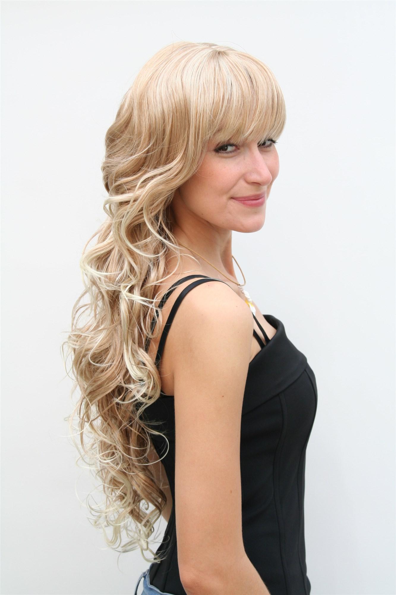 damenper cke in blond gelockte sehr lange haare pony volumin s 70 cm 4306 27t613 kaufen bei vk. Black Bedroom Furniture Sets. Home Design Ideas