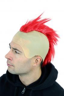 Fasching Karneval Halloween Perücke Punk Roter Iro Glatze Mohawk Irokese 4201
