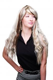 Perücke Fasching Sexy Lang Blond Hellbraun gesträhnt Lang Vamp Tussie LM0913