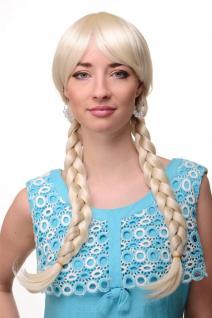 Damen Perücke Cosplay Platinblond Blond geflochtene Zöpfe Schulmädchen 3446-613