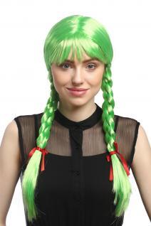 Perücke Damen Karnveval Cosplay Fasching Zöpfe geflochten Schulmädchen Grün