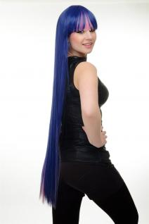 Perücke Damen Cosplay dreifarbig Pink Blau Lila Pony ewig lang glatt YZF-7128