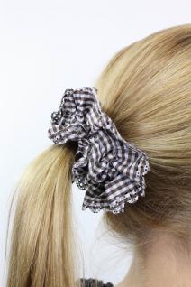 Freches 60ies Mokka/ Weiß kariertes Vintage-Look Haarband Stoff Scrunchy Z010