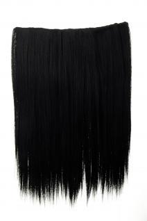 Haarteil breit Haarverlängerung 5 Clips glatt Schwarz Tiefschwarz 45cm L30173-1