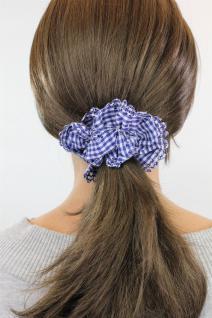Freches Blau/Weiß kariertes Vintage-Look Haarband Haarbinder Stoff Scrunchy Z008