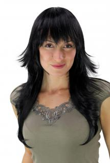 Stylisch moderne Damen-Perücke gestuft Frisur Haarersatz schwarz 60 cm 3220-1b
