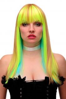 Perücke Cosplay Hellblau Neongrün Blond Disco Glam Pony lang 55cm GFW2201