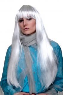 Fasching COSPLAY Perücke SEHR LANG platin weiß weißblond glatte Frisur Pony Fee