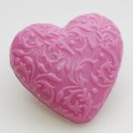 Herz Schwarze Ribisel mit Ornamenten Florex Schafmilchseife 75g
