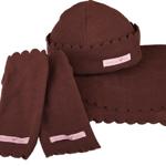 Fleece Set braun mit Mütze, Dreiecktuch und Stulpen von GardenGirl