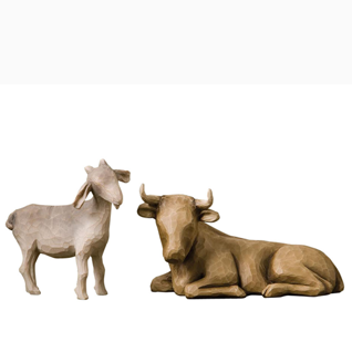 OCHSE UND ZIEGE Ox and Goat Krippenfiguren von Willow Tree